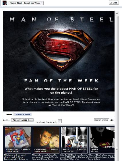 concorsi successo su Facebook man of steele
