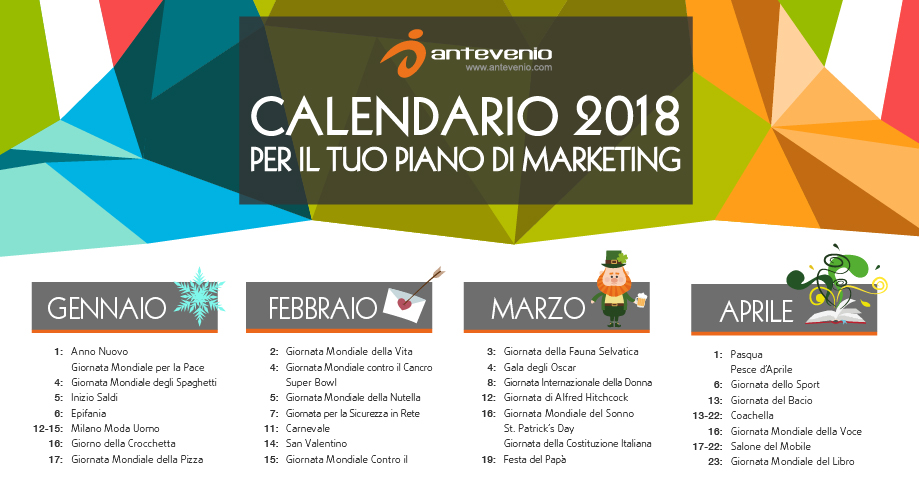 Calendario Marzo 2018 Con Festivita.Calendario Di Marketing 2018 Date Importanti Per Creare Un