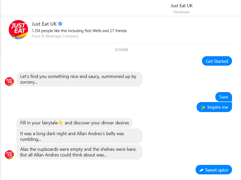 Cattura i clienti con Chatbot Just Eat