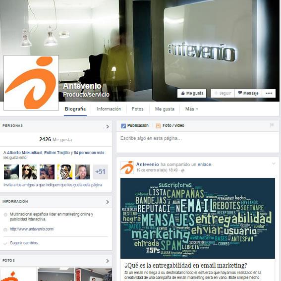 página de Antevenio en Facebook