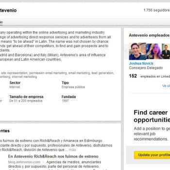 Página de empresa de Antevenio en LinkedIn