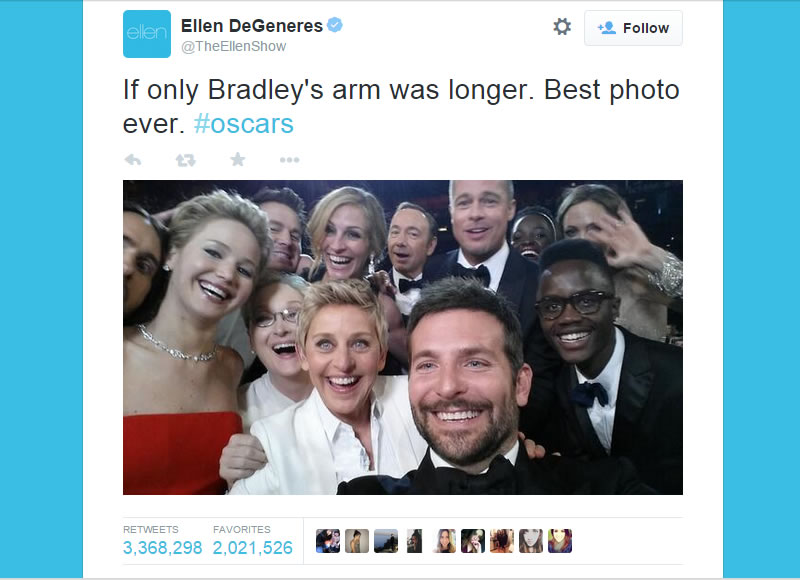 El selfie más compartido de la historia - ejemplos de marketing online