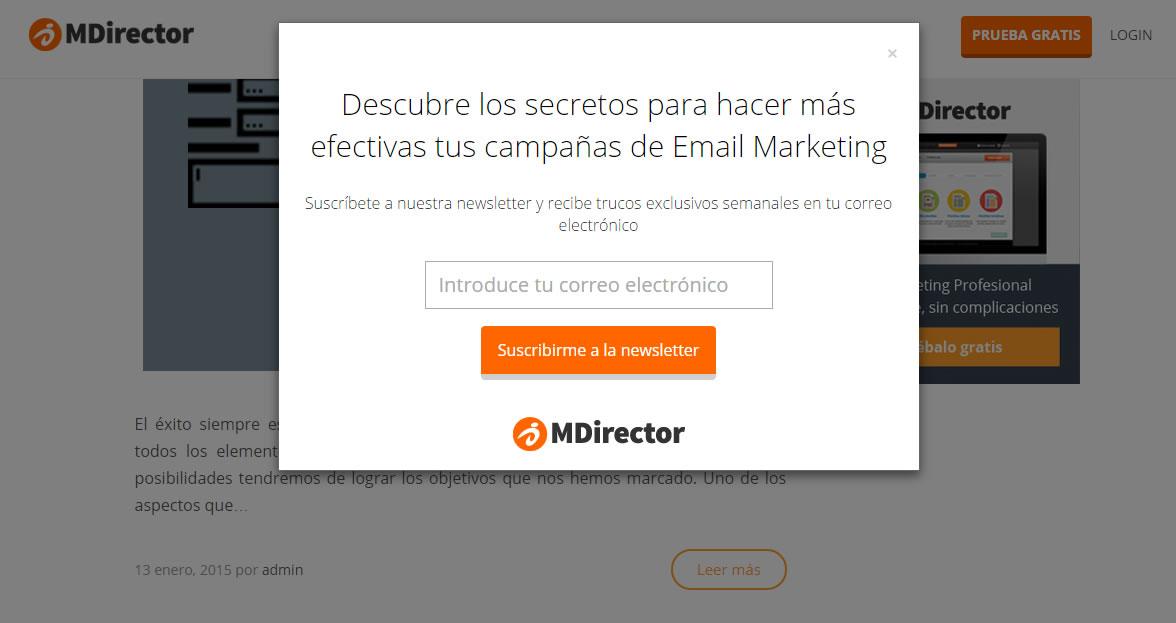 formulario popup de MDirector