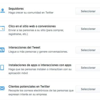 Tipos de anuncios en Twitter Ads según sus objetivos