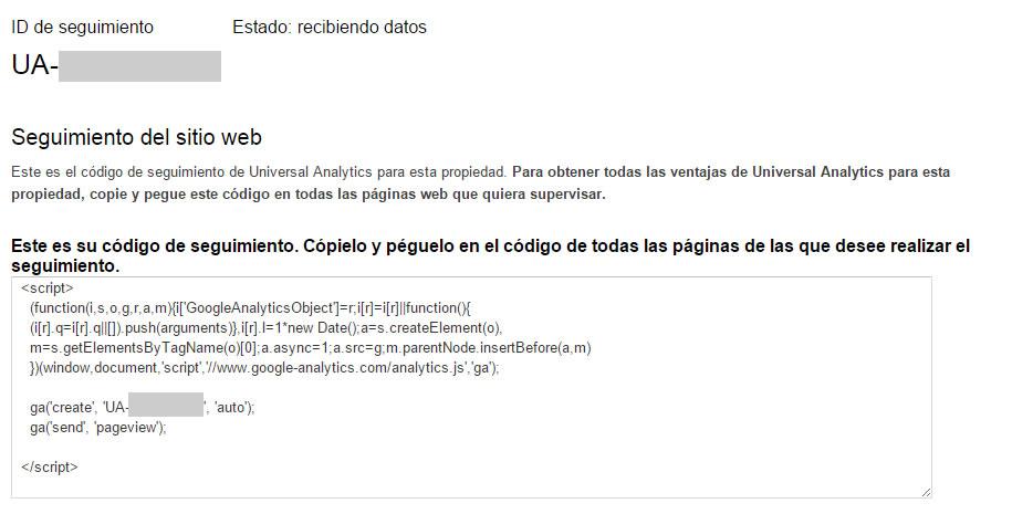 ejemplo de código JavaScript de Google Analytics