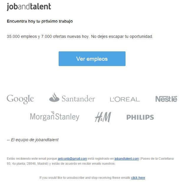 ejemplo de newsletter: Job and Talent