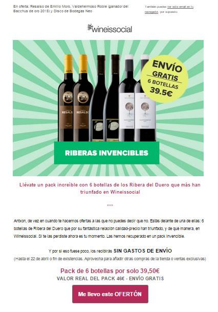 ejemplo de newsletter: wineissocial