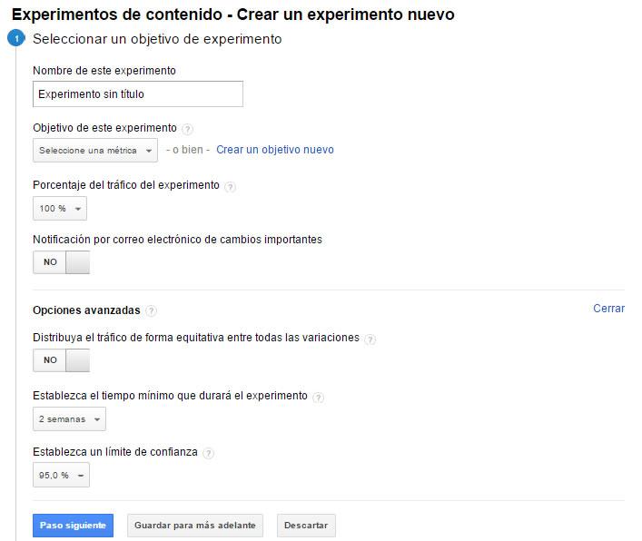 Define objetivos con Google Analytics
