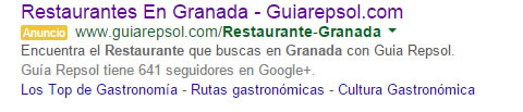 adwords restaurantes en Granada