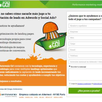 landing page de Antevenio Go!