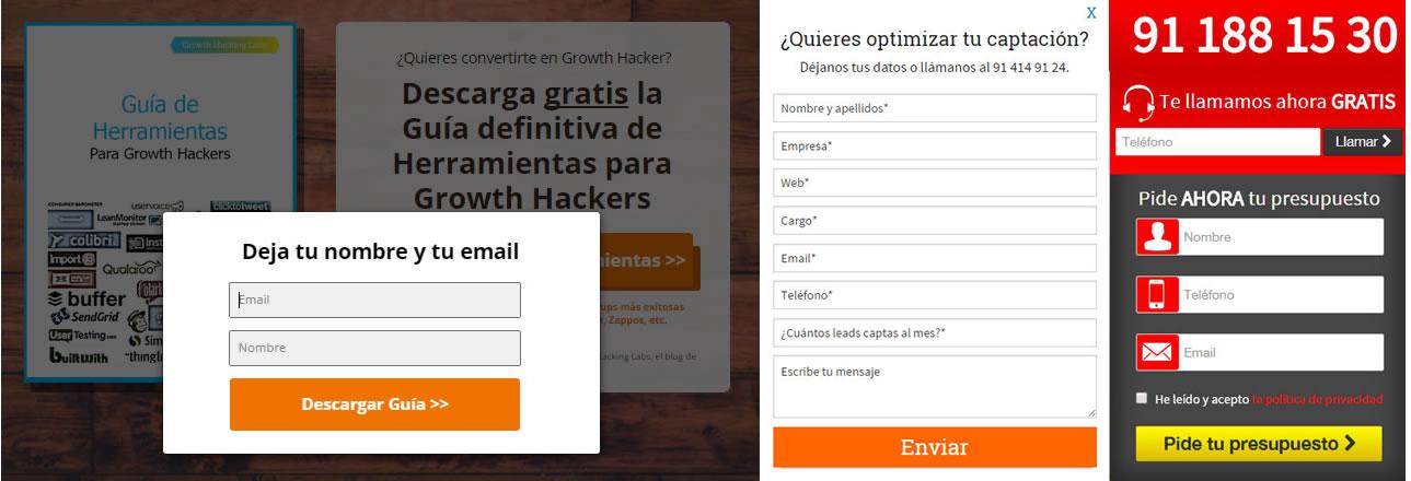 tipos de formularios en una landing page eficaz