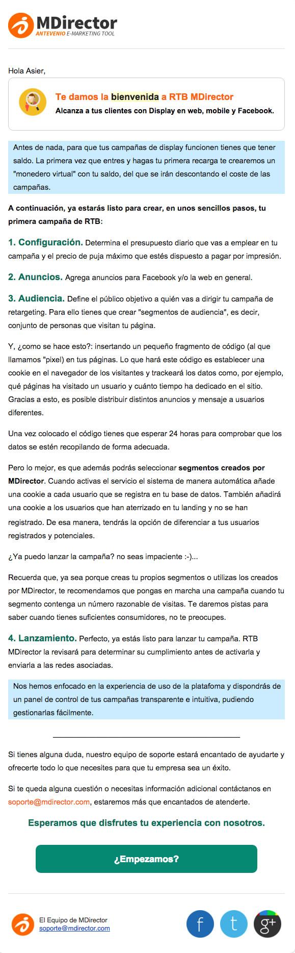 emails de bienvenida: MDirector
