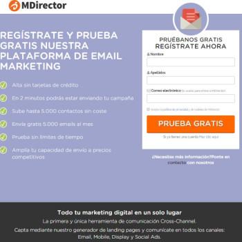 landing page de MDirector