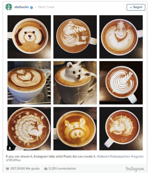 instagram para marketing de grandes marcas: Starbucks
