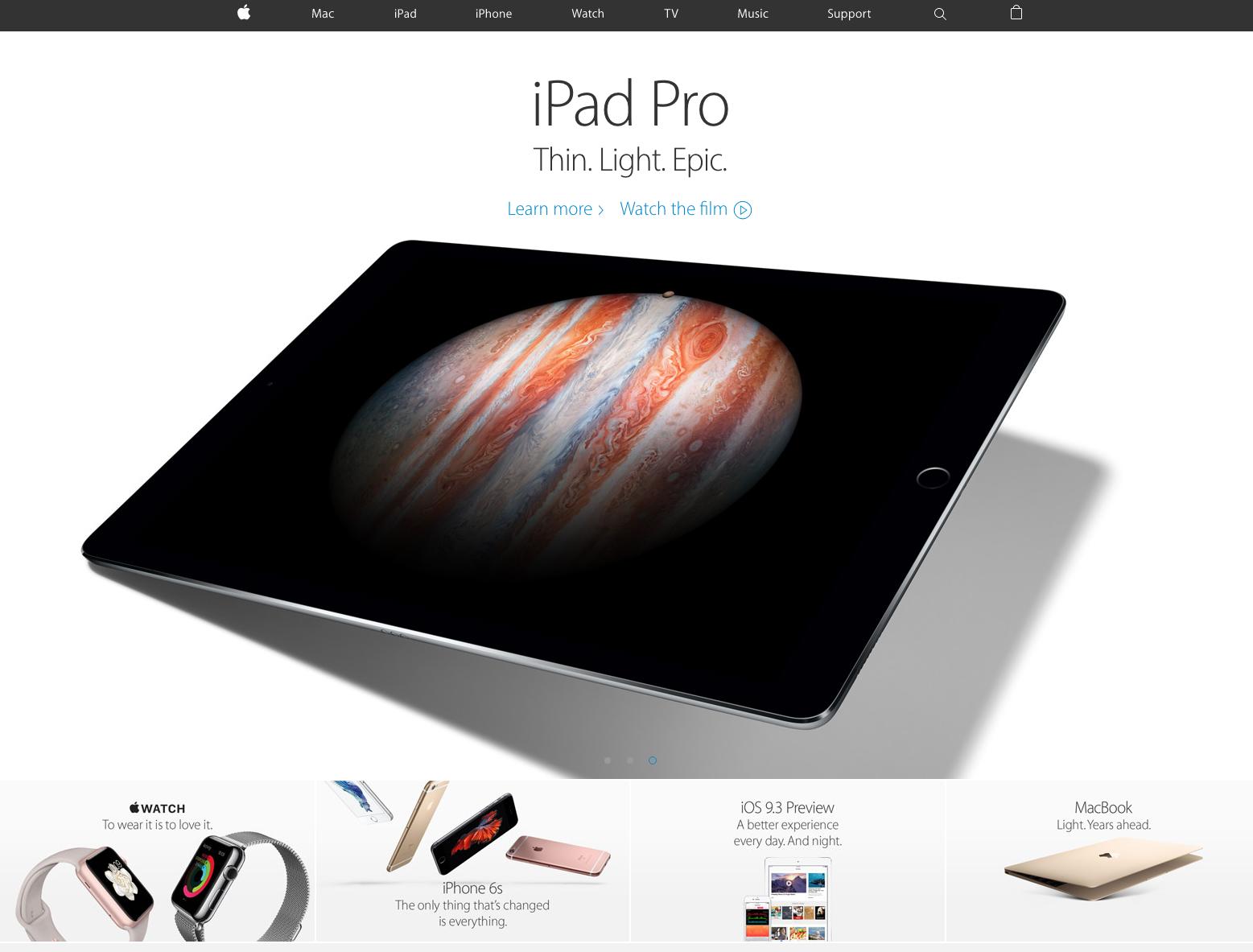 características de una landing page: Apple
