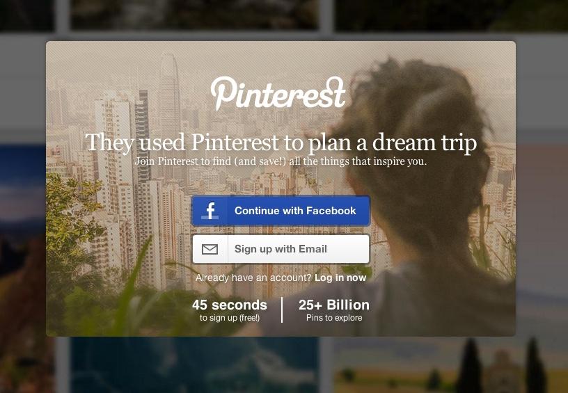 características de una landing page: Pinterest