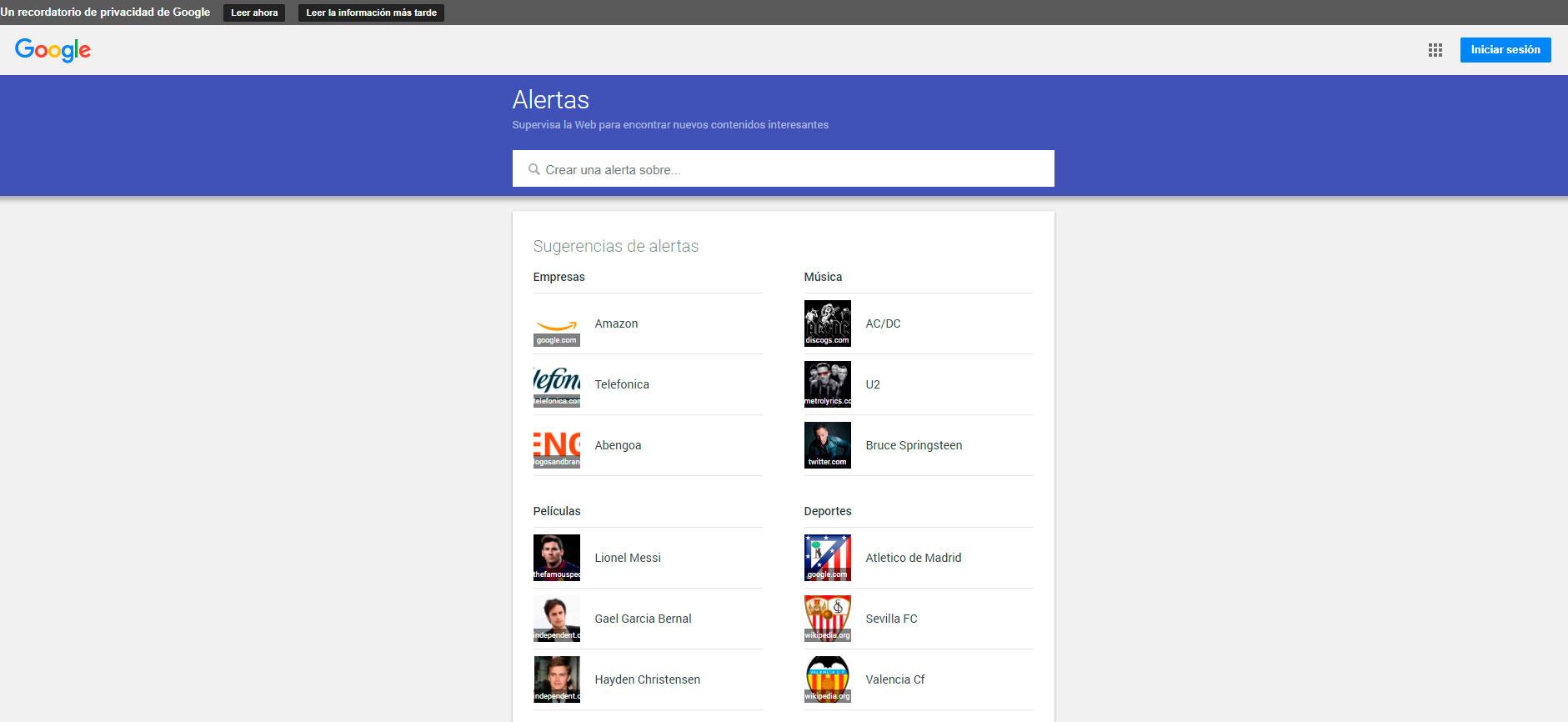 herramientas de monitorización de redes sociales : Google Alerts