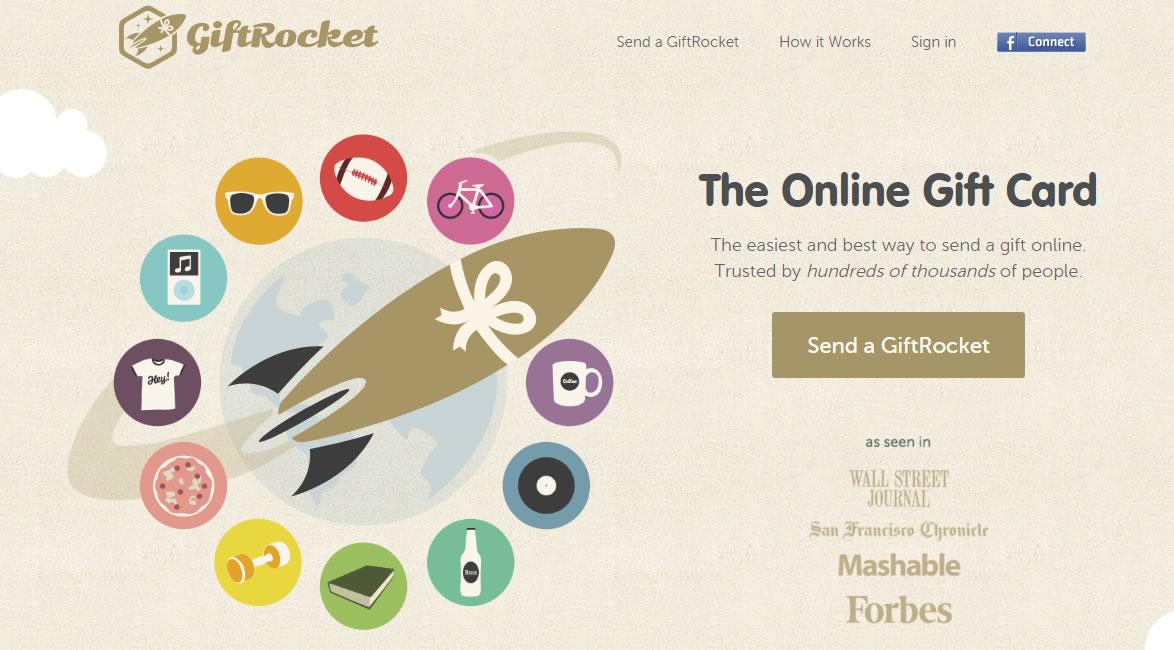 mejorar el diseño de una landing page: Gift Rocket