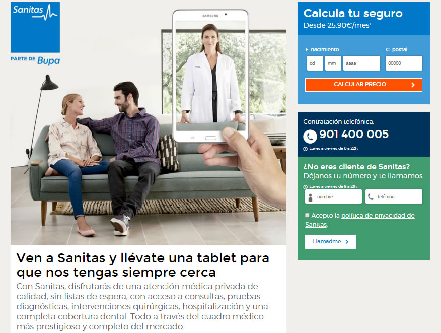 mejorar el diseño de una landing page: Sanitas