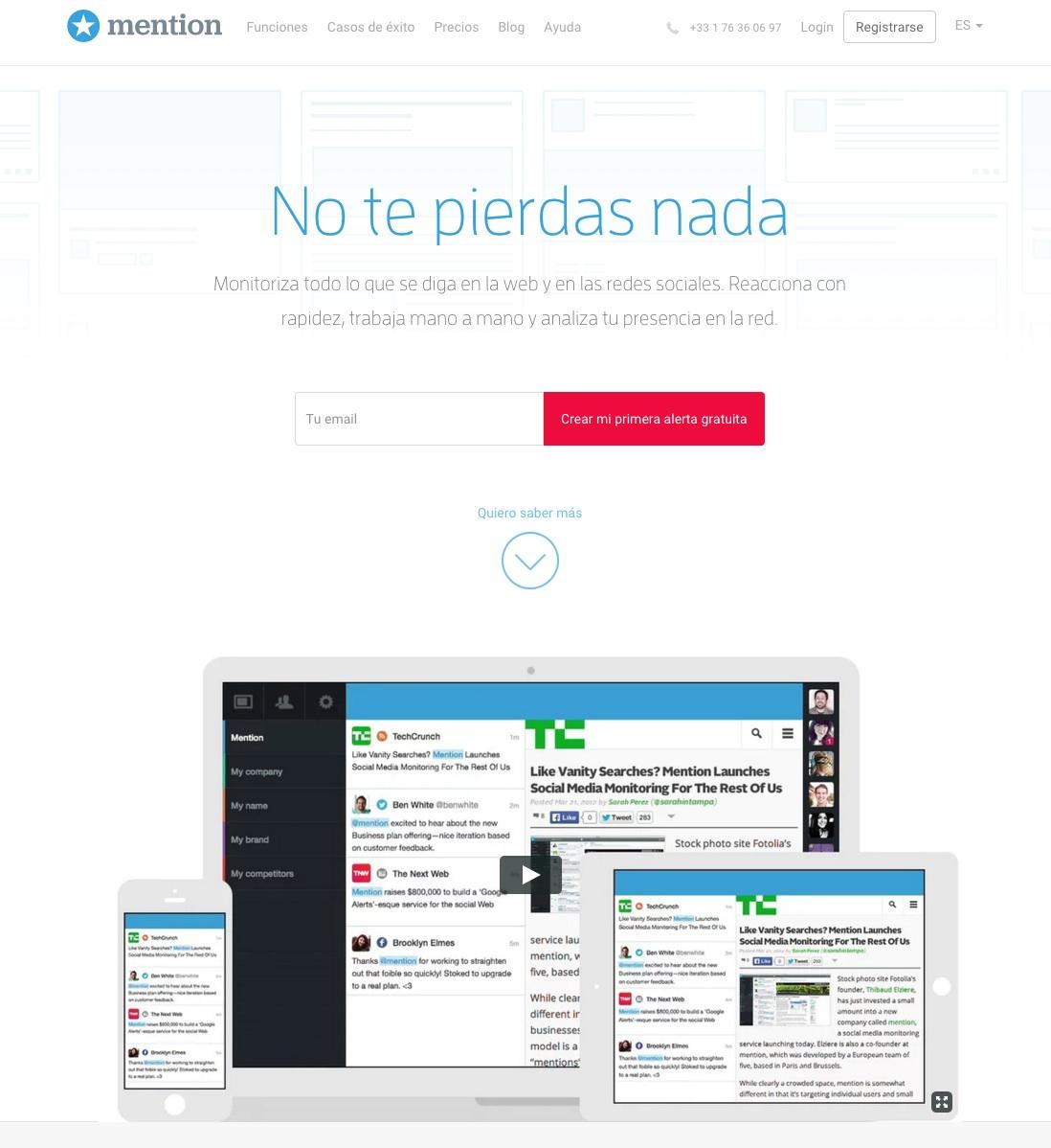 herramientas de monitorización de redes sociales : mention