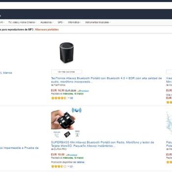 página de resultados en Amazon