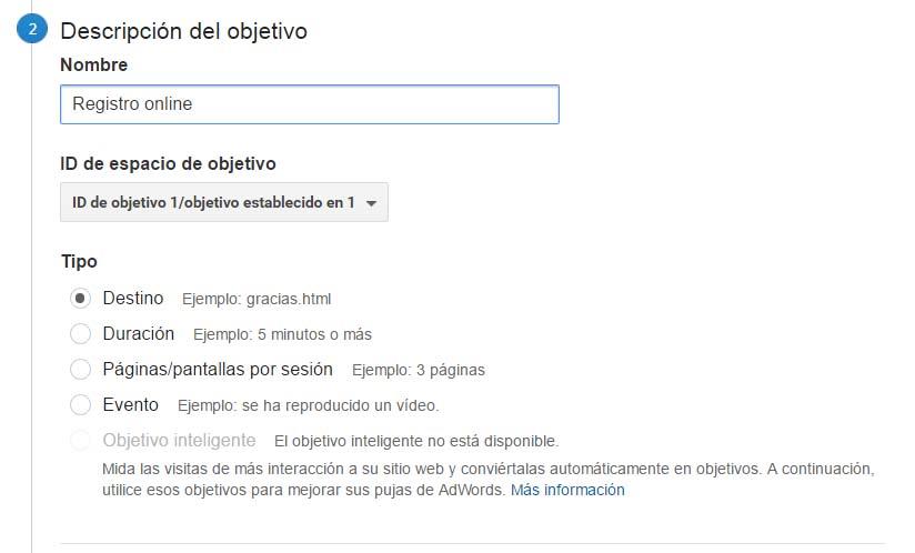 Descripción de objetivos en Google Analytics