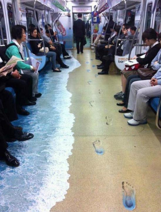 La playa en el metro de Seúl