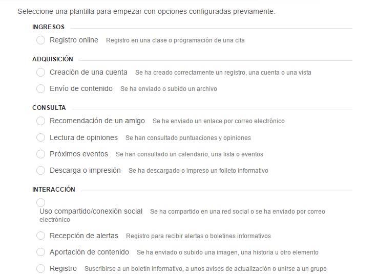 configurar objetivos de conversión en Google Analytics - Paso 1