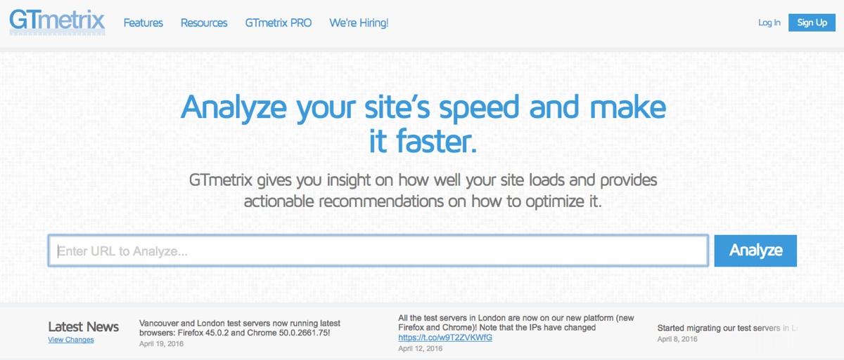 velocidad de la página