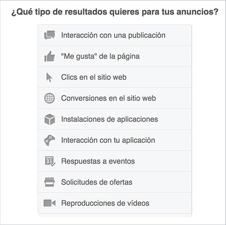 Objetivos de Facebook Ads