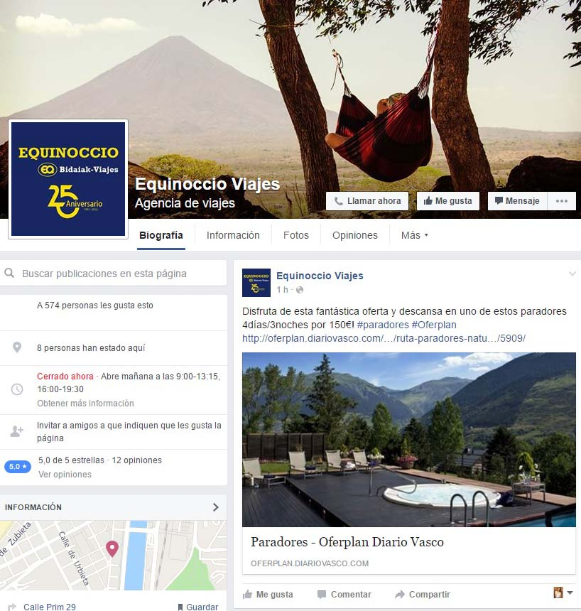 """botones """"call to action"""" en Facebook - Equinoccio Viajes"""