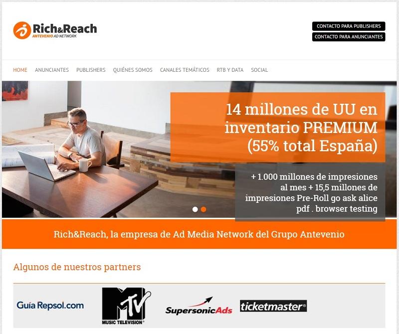 empresas con las que ganar dinero con un blog: Antevenio Rich&Reach