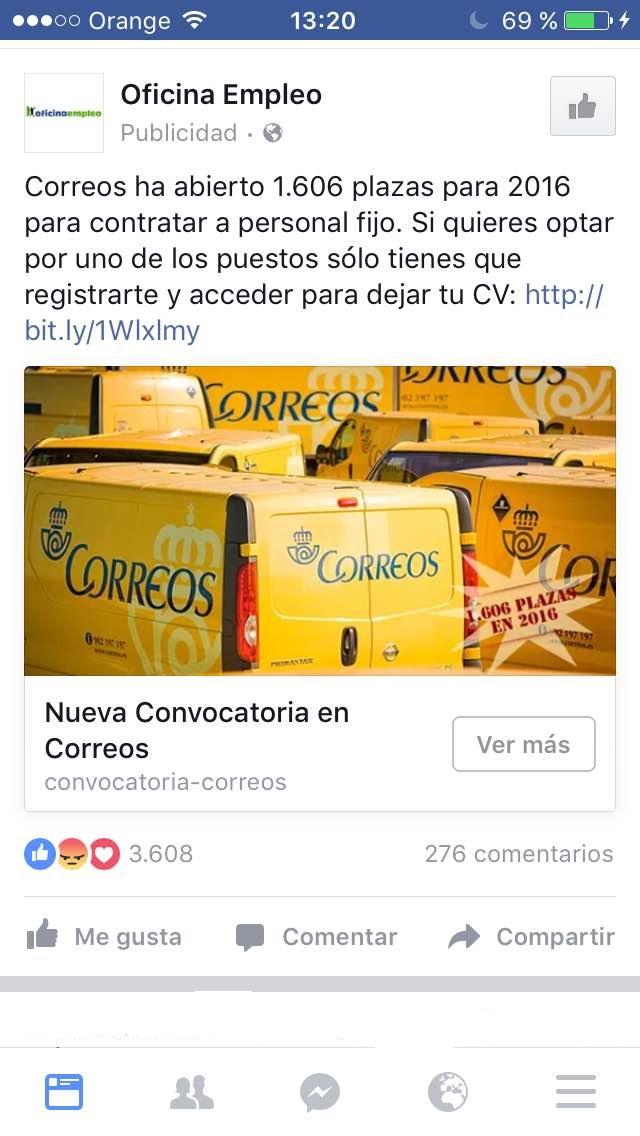 """botones """"call to action"""" en Facebook - Correos"""