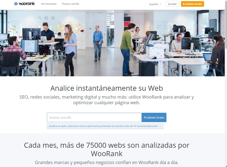 herramientas para analizar la velocidad de descarga de una web: Woorank