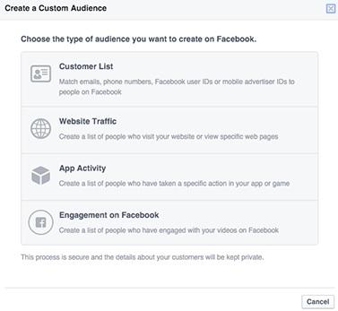 custom audiences en Facebook