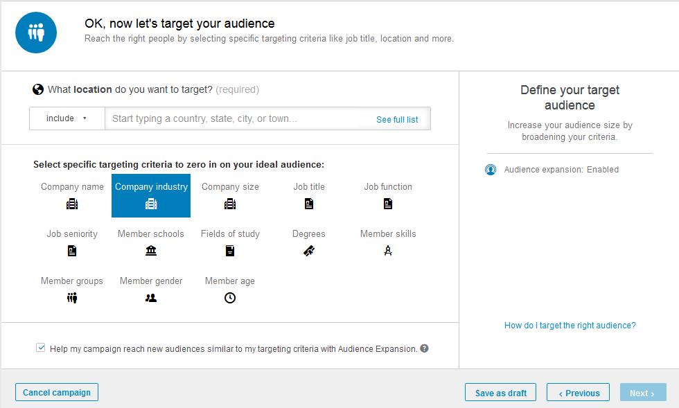 segmentar anuncios en LinkedIn