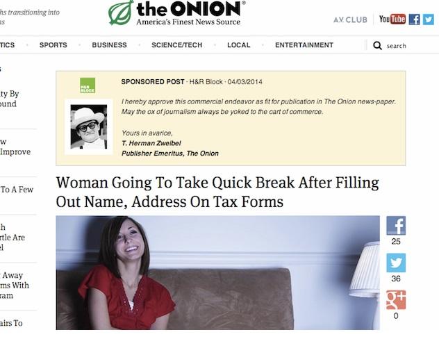 Formatos de publicidad nativa: The Onion