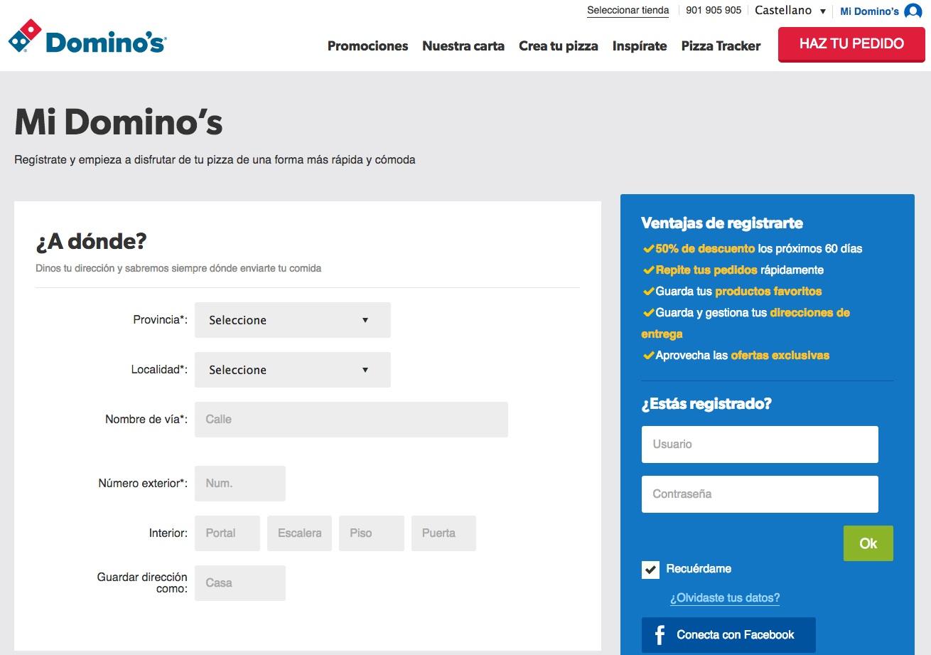 campañas de captación de registros: Domino's Pizza
