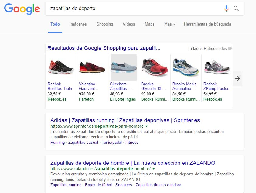 resultados de Google Shopping