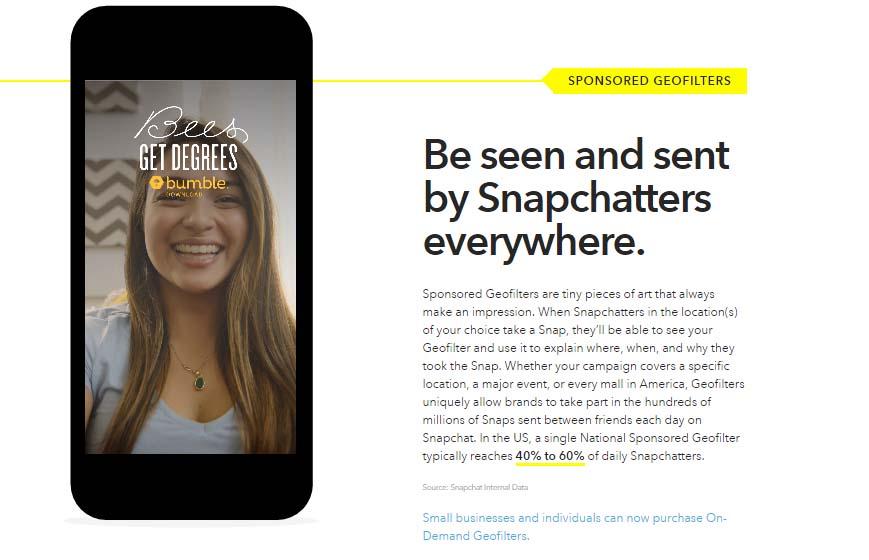 Guia de publicidad en Snapchat: Geofilters