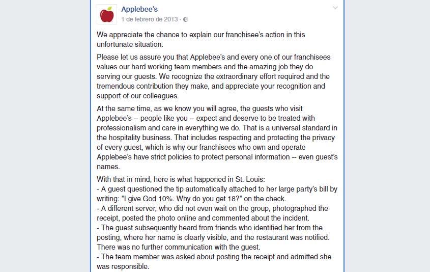 crisis en redes sociales mal gestionadas: AppleBee's