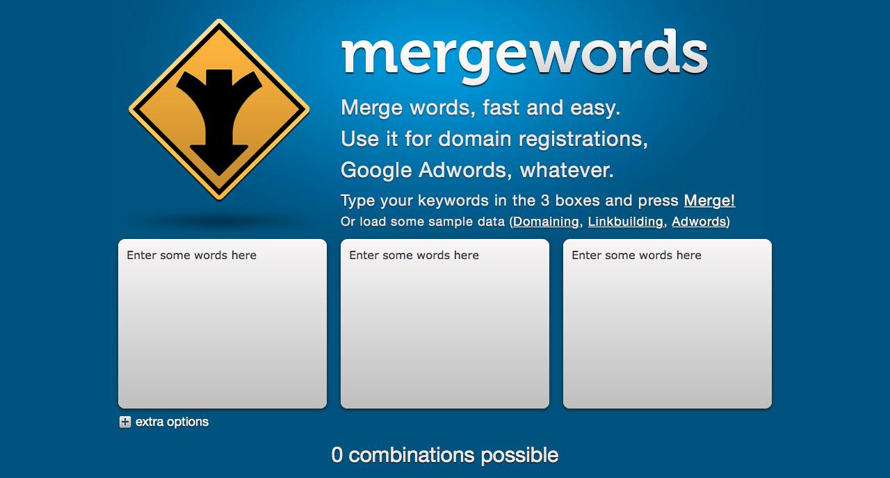 elegir las mejores keywords: Mergewords