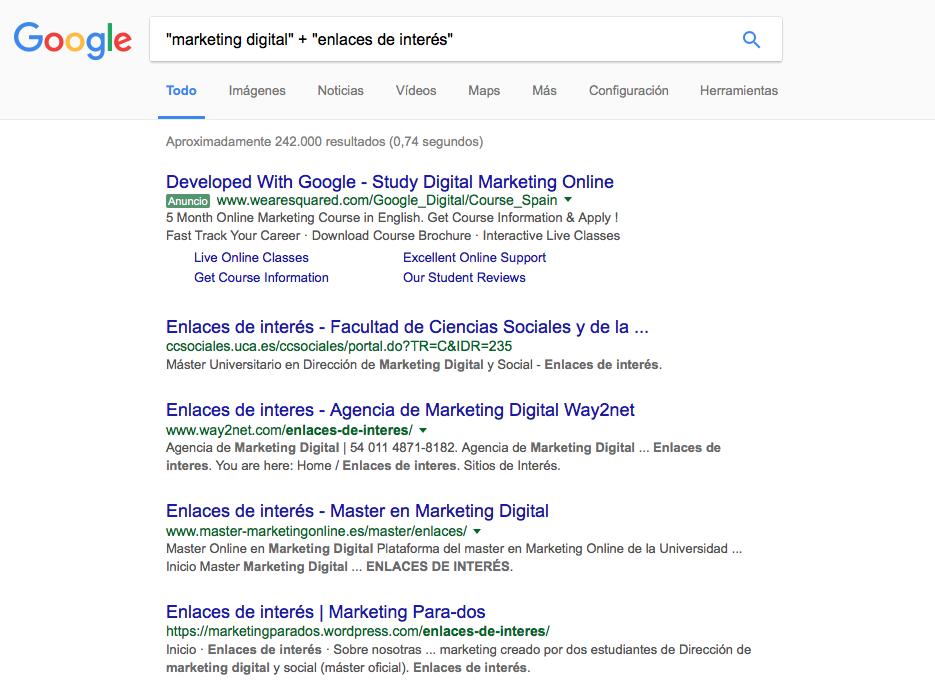 página resultados de Google