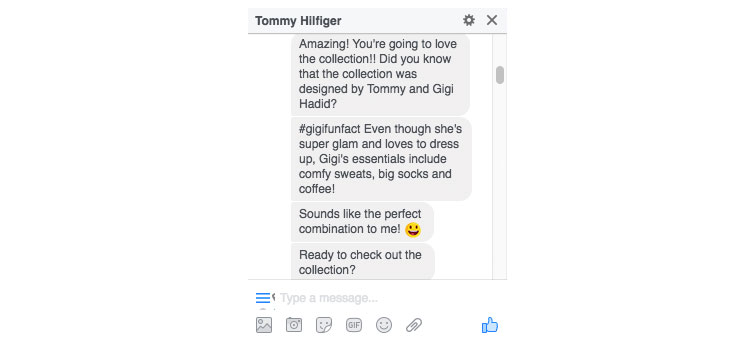chatbot de tommy hilfiger