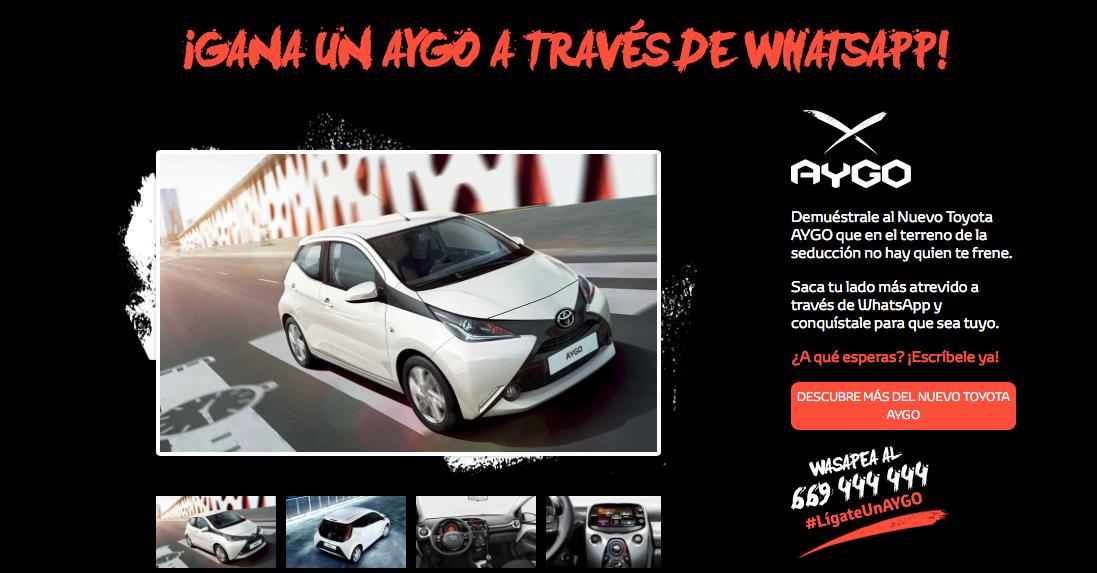 campañas en Whatsapp: Toyota Aygo