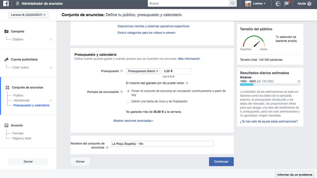 crear anuncios eficaces en Facebook: presupuesto