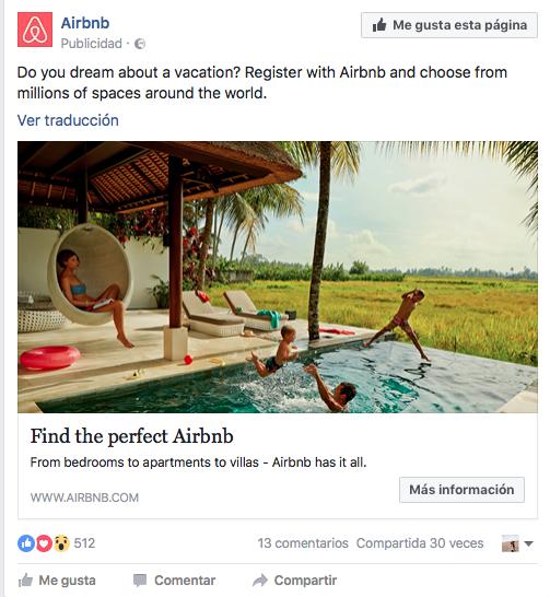 crear anuncios eficaces en Facebook: AirBnb