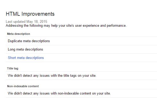 razones para utilizar Google Search Console: mejoras HTML
