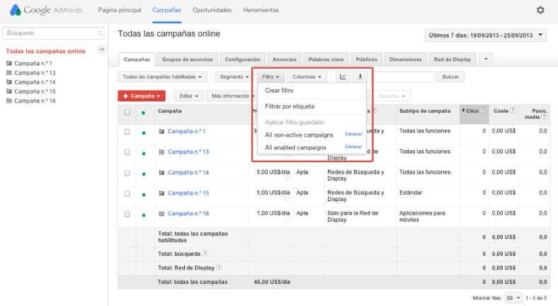 filtros para espiar a la competencia en Adwords