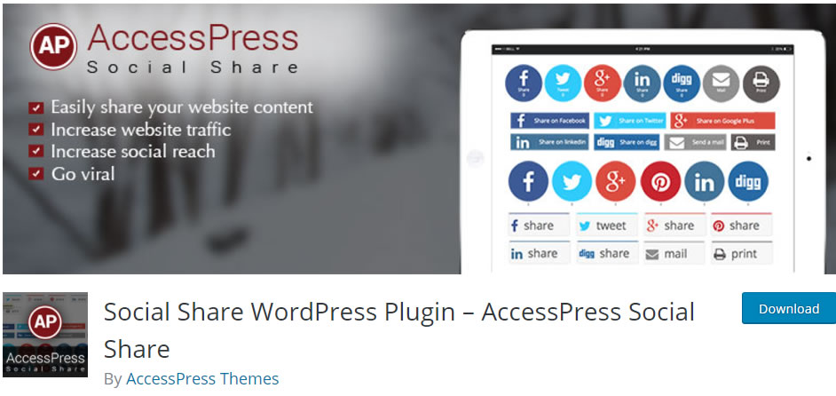 Social Share WordPress Plugin – AccessPress Social Share